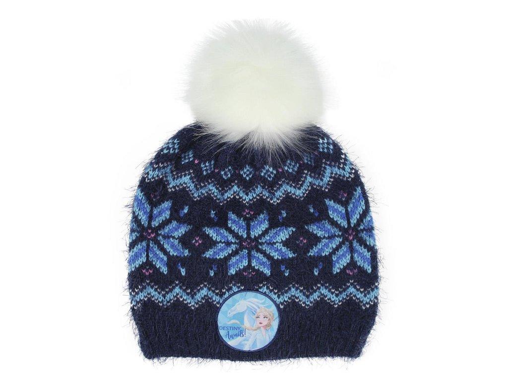 Dětský zimní kulich Frozen II Ledové království: (univerzální) modrý akryl