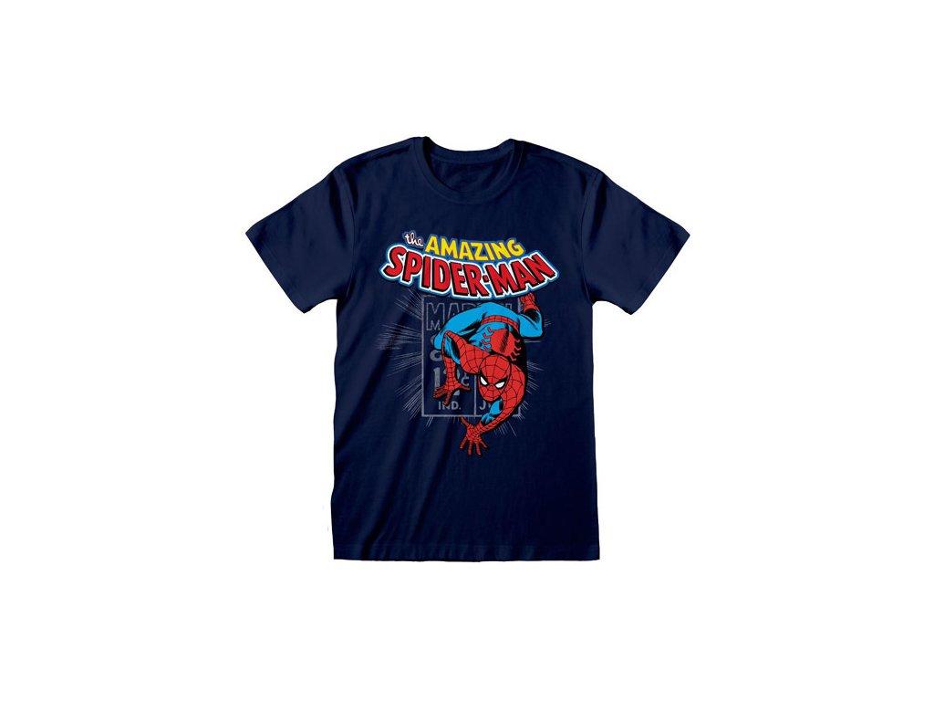 Pánské tričko Marvel Comics|Spiderman: Amazing Spiderman (2XL) modré bavlna