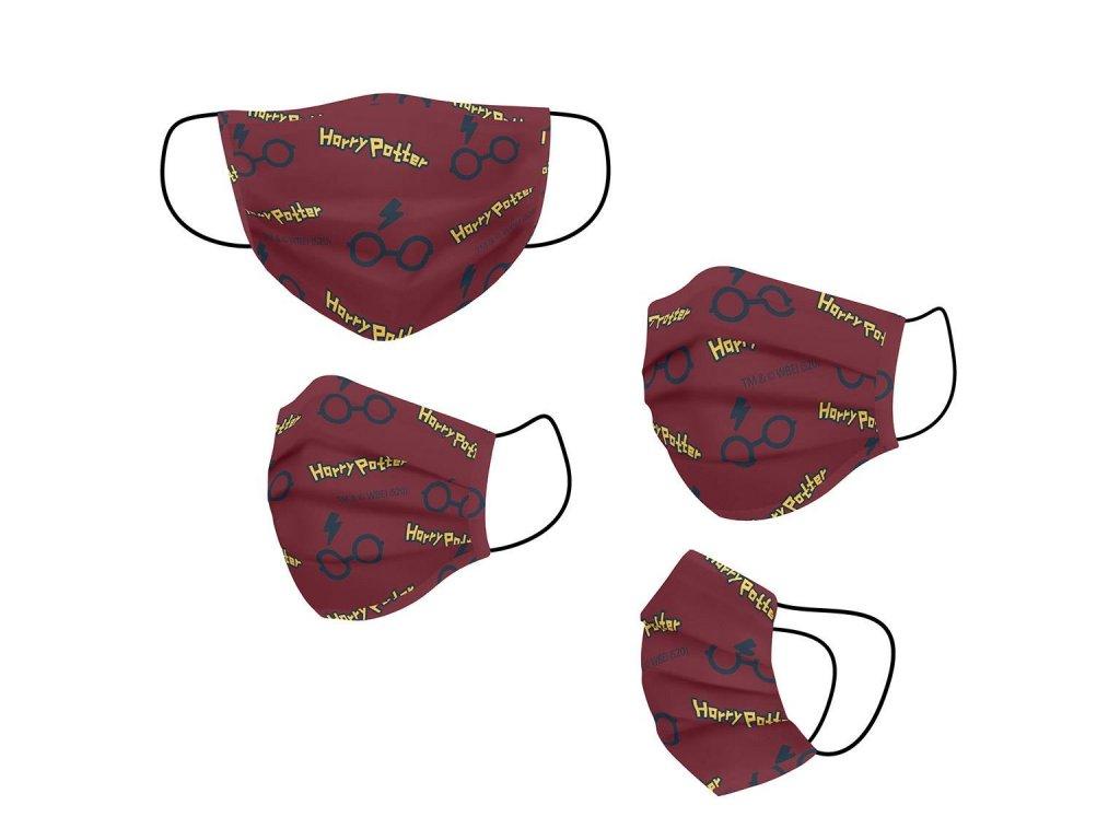 Ochranná rouška na ústa Harry Potter: Znaky (univerzální) vínový polyester