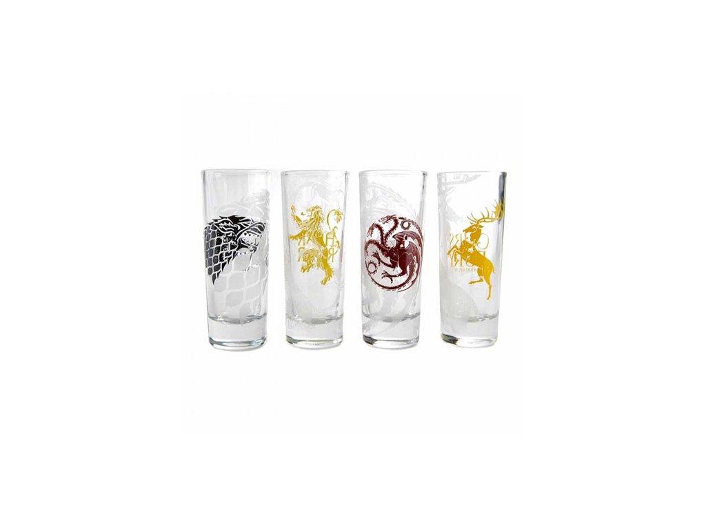 Sklenice štamprle Game of Thrones|Hra o Trůny: Sigils set 4 kusy (objem 100 ml)