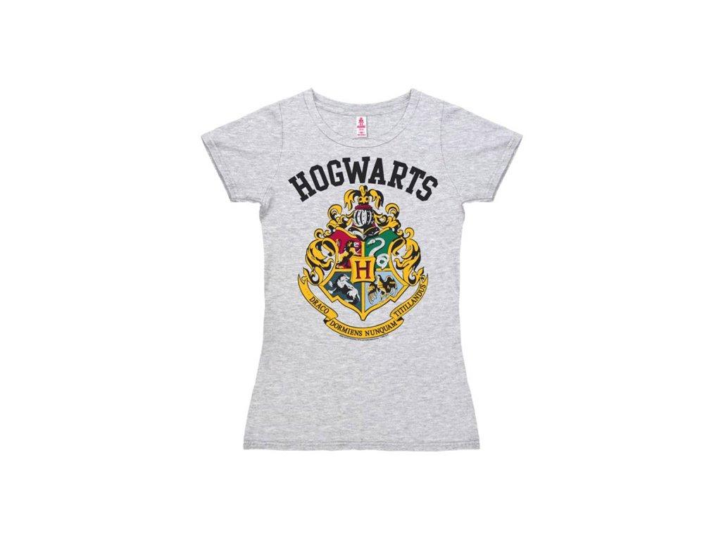 Dámské tričko Harry Potter: Hogwarts Logo (M) šedé bavlna