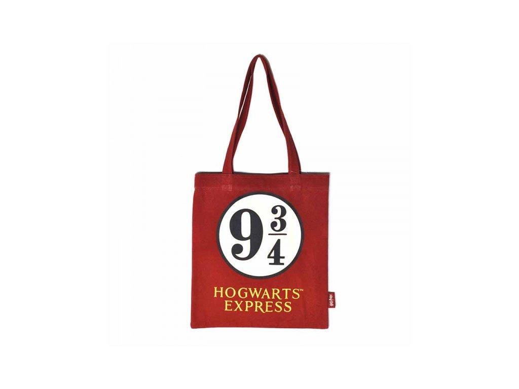 Shopping taška na rameno Harry Potter: Platform 9 3/4 (37 x 68 cm) červená bavlna