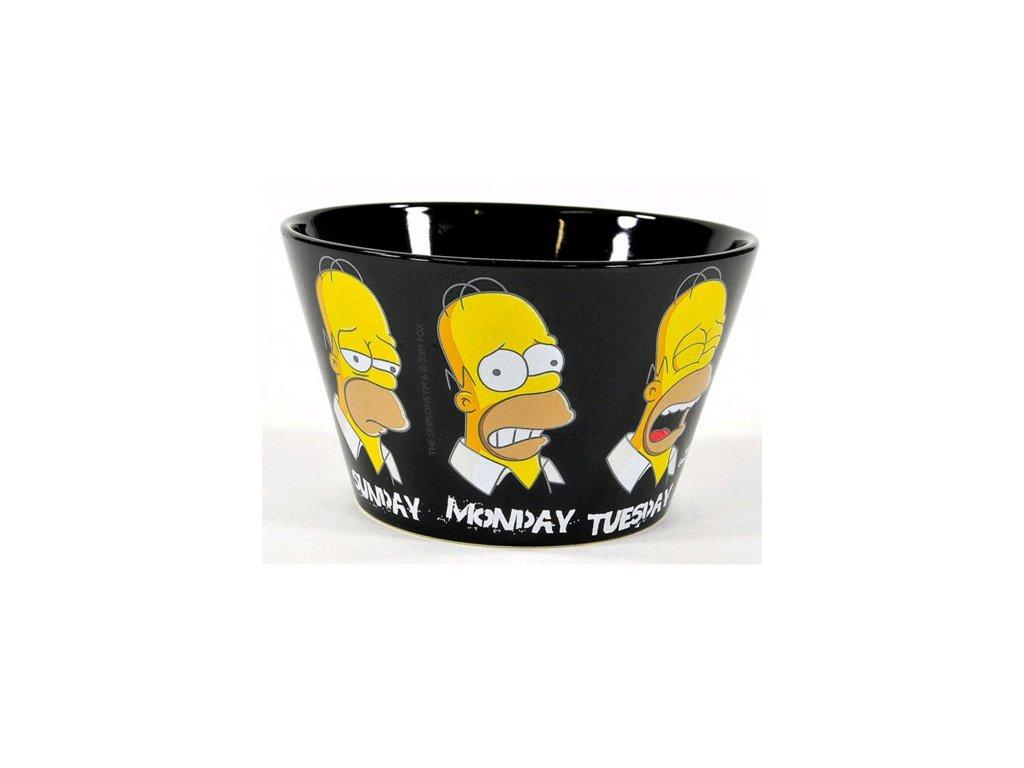 Černá porcelánová miska The Simpsons Simpsnovi: Homer (objem 500 ml)