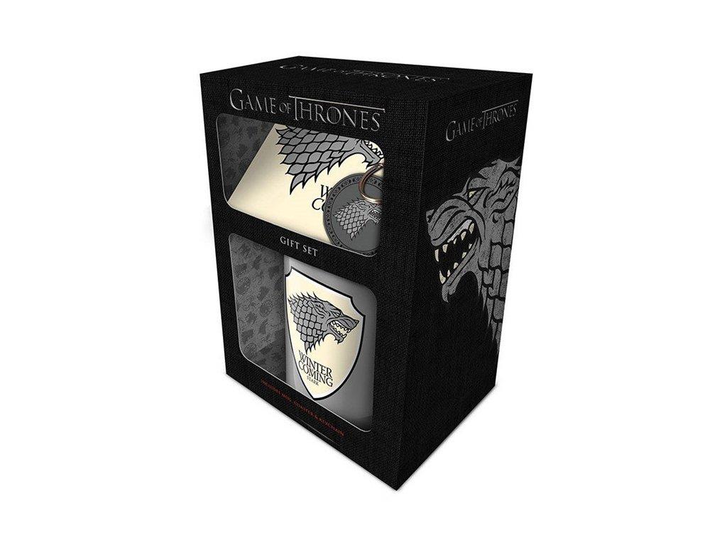 Dárkový set Game of Thrones|Hra o trůny: Stark hrnek-přívěsek-tácek (objem hrnku 315 ml) bílý