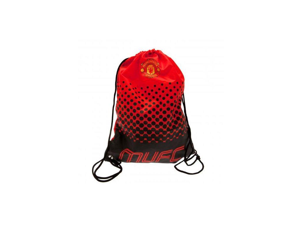 Batoh pytlík se šňůrkami gym bag FC Manchester United: Fade (33 x 44 cm|objem 14,5 l) červený polyester