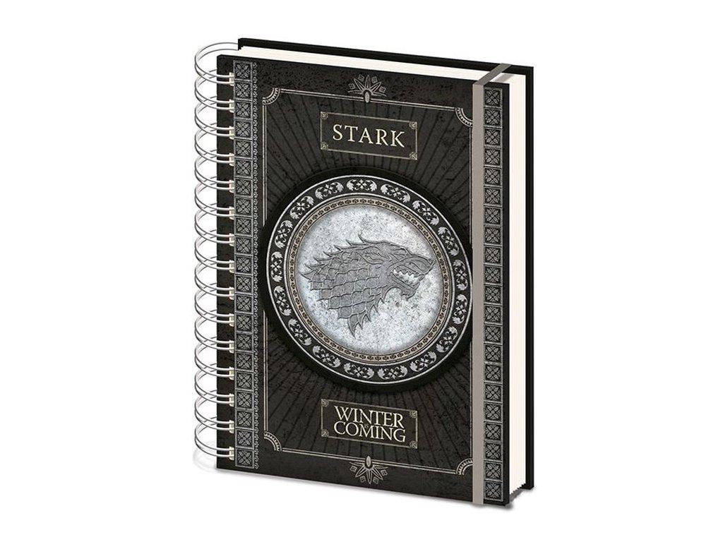 Poznánkový A5 blok Game of Thrones Hra o Trůny: Stark Logo (14,8 x 21 cm) kroužková vazba