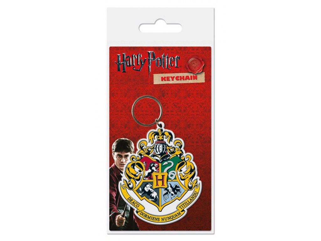 Pryžový přívěsek na klíče Harry Potter: Hogwarts Crest (5 x 6 cm)