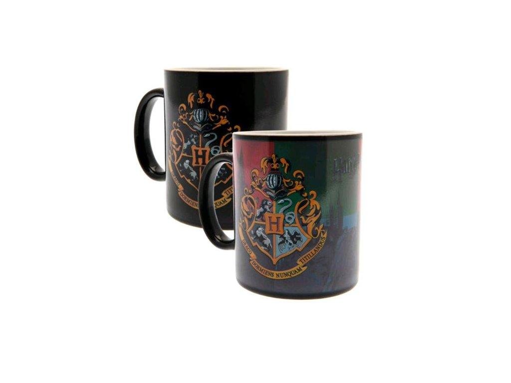 Černý proměňovací keramický hrnek Harry Potter: Hogwarts - Bradavice (objem 300 ml)