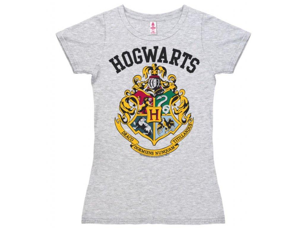 Dámské tričko Harry Potter: Hogwarts Logo  šedé bavlna