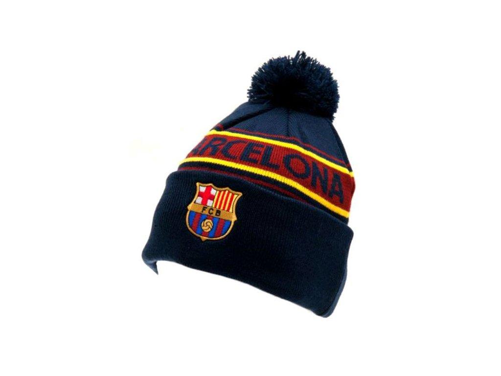 Zimní pletená čepice FC Barcelona: Ski s bambulí (universální) modrá akryl