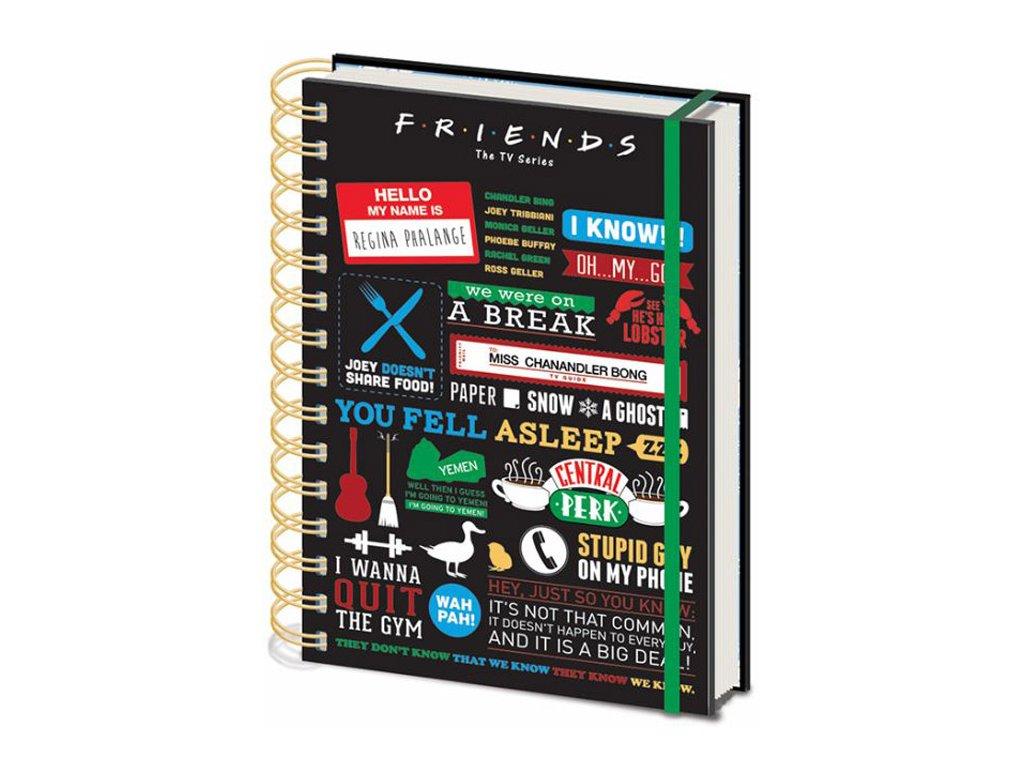 A5 blok - zapisník Friends Přátelé: Infographic (14,8 x 21 cm) kroužková vazba