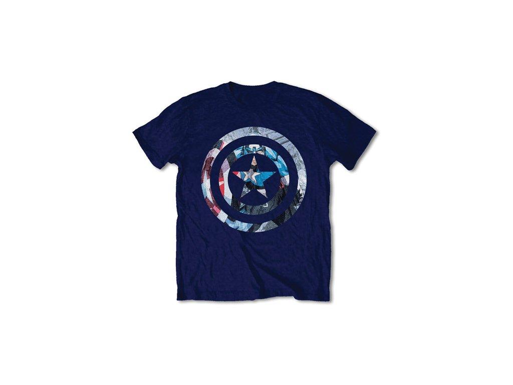 Pánské tričko Marvel|Captain America: Knock Out  modré bavlna