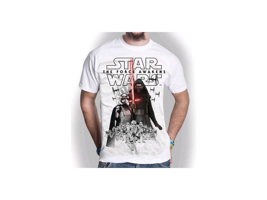 Pánské tričko Star Wars VII|Hvězdné války: New Villains (L) bílé bavlna