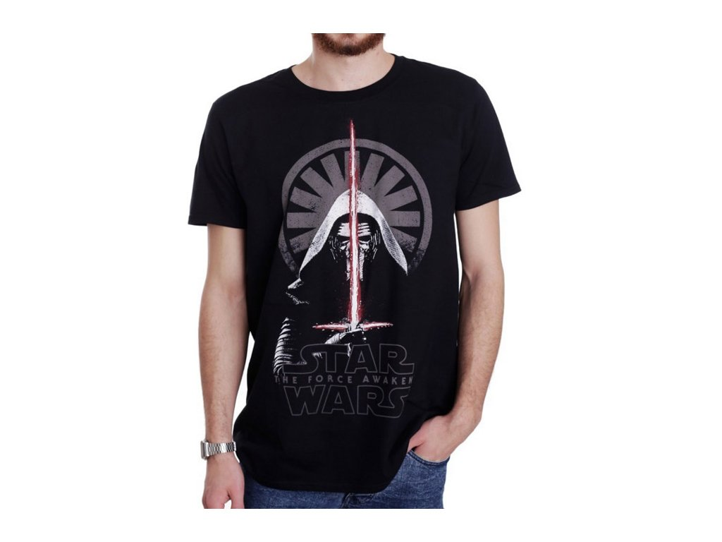 Pánské tričko Star Wars VII|Hvězdné války: Kylo Ren Shadows  černé bavlna