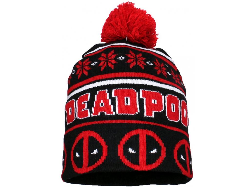 Přeložená úpletová zimní čepice Marvel|Deadpool: Christmas (universální)