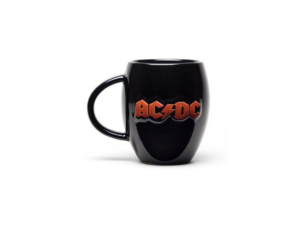 Oválný černý keramický hrnek AC/DC: Logo (objem 450 ml)