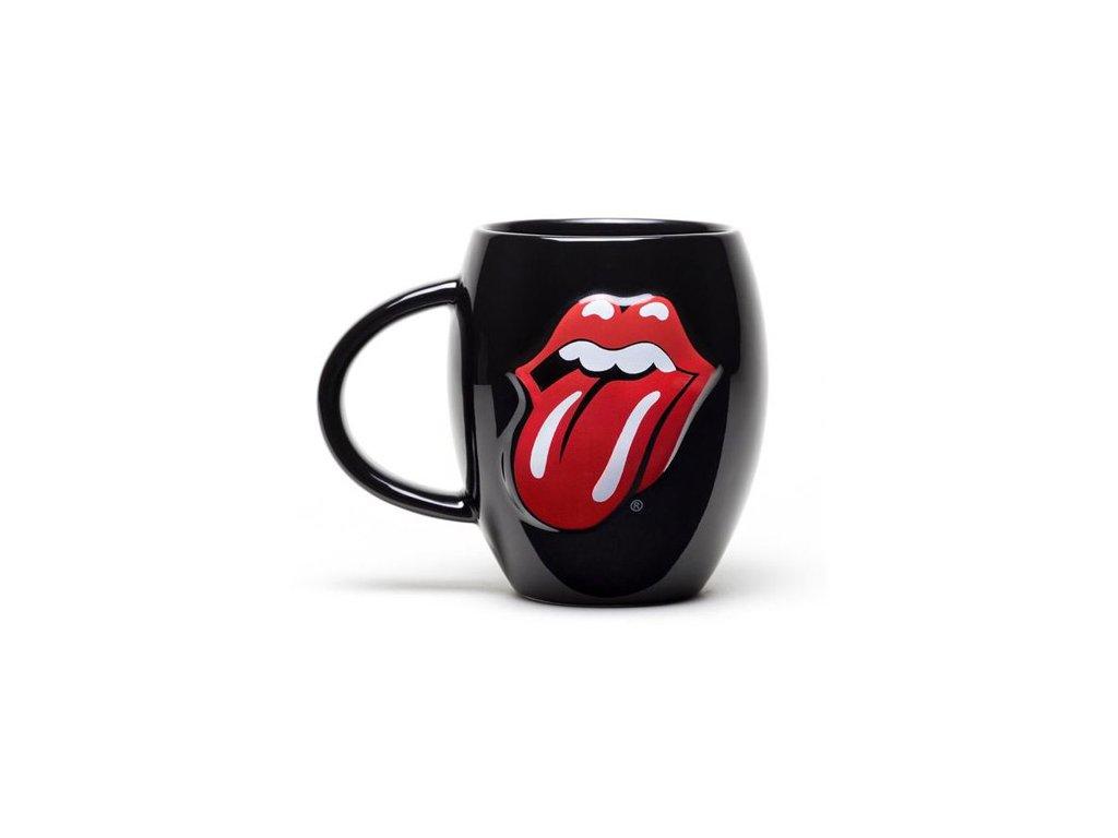 Oválný černý keramický hrnek The Rolling Stones: Jazyk (objem 450 ml)