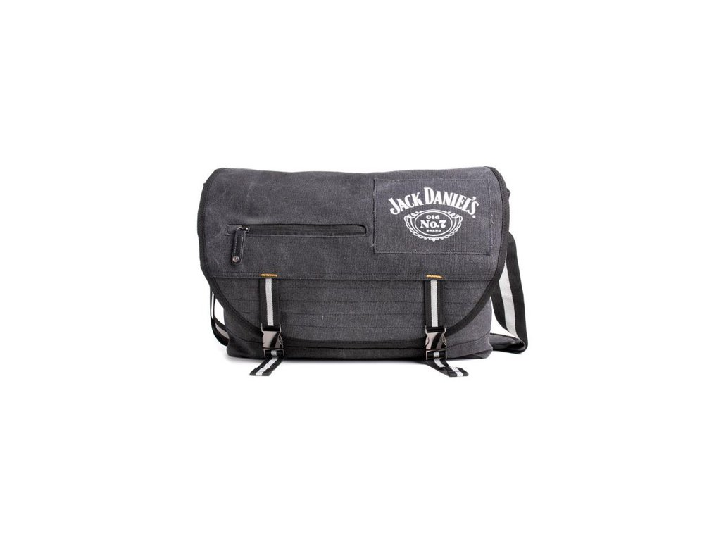 Taška na rameno Jack Daniel's: Logo (objem 16,8 litrů|48 x 35 cm) černá bavlna
