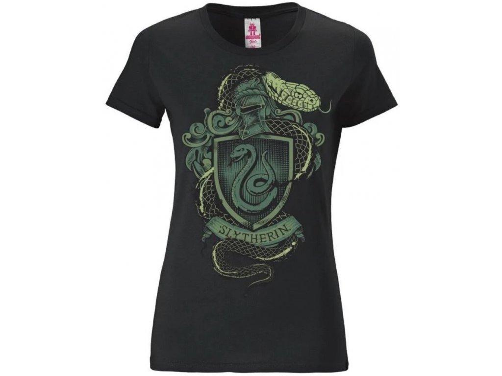 Dámské tričko Harry Potter: Slytherin Logo  černé bavlna