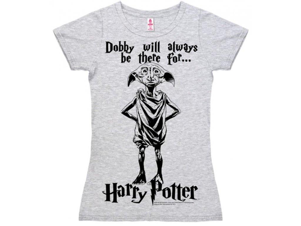 Dámské tričko Harry Potter: Dobby Logo  šedé bavlna