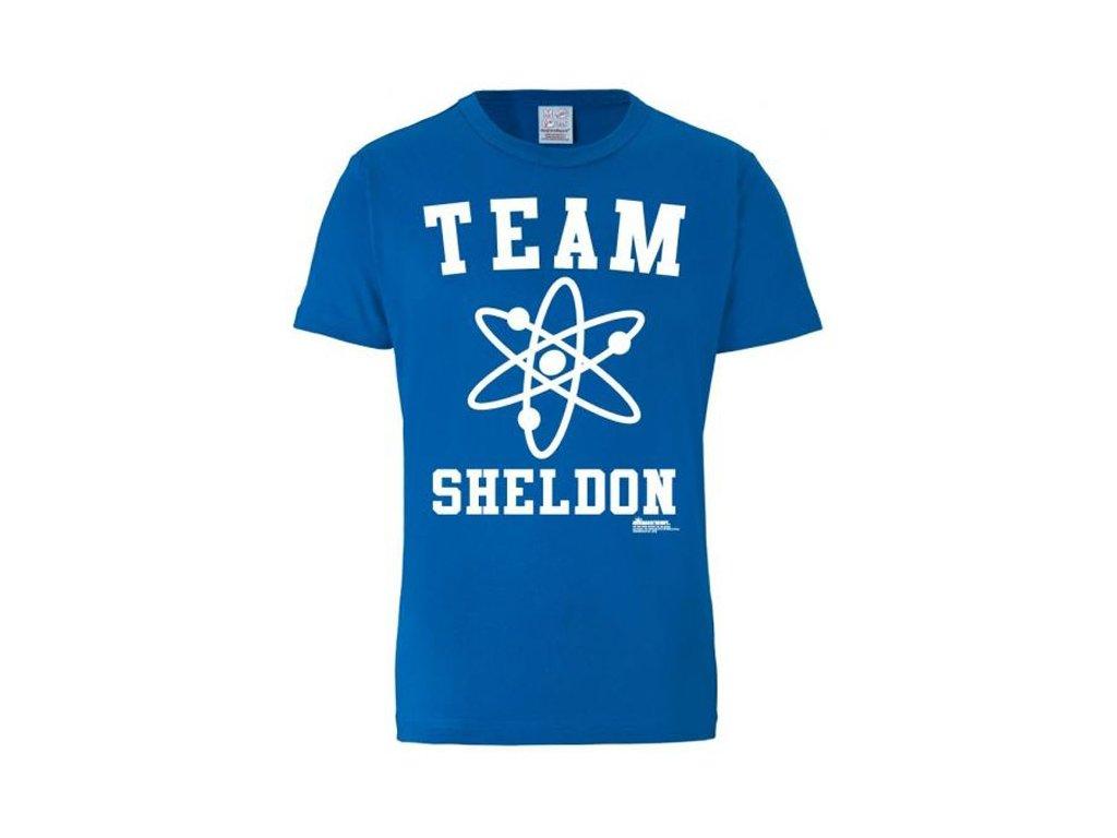 Pánské tričko The Big Bang Theory Teorie velkého třesku: Team Sheldon (S) modré bavlna