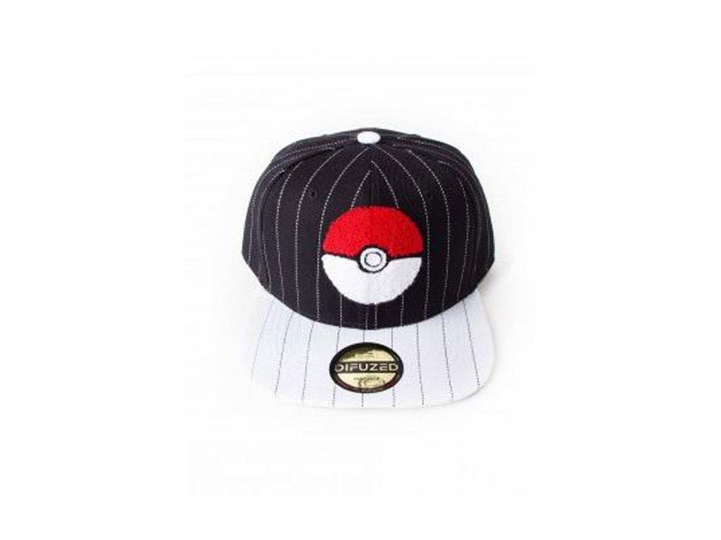 Čepice kšiltovka: Pokemon Pokeball Varsity (nastavetelná velikost) černý polyakryl bavlna