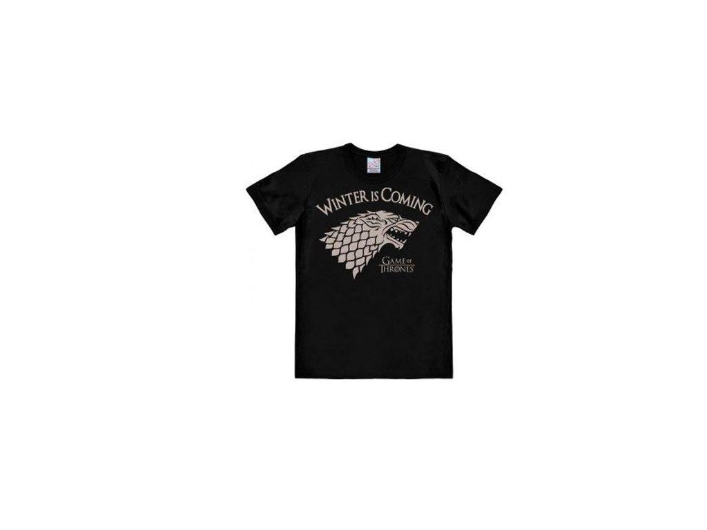 Pánské tričko Game Of Thrones: Winter Is Coming (L) černé bavlna