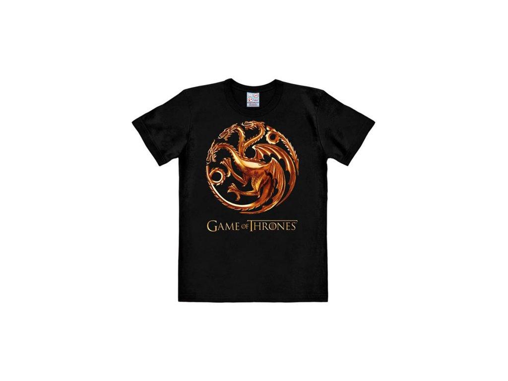 Pánské tričko Game Of Thrones: Targaryen Dragons (XL) černé bavlna