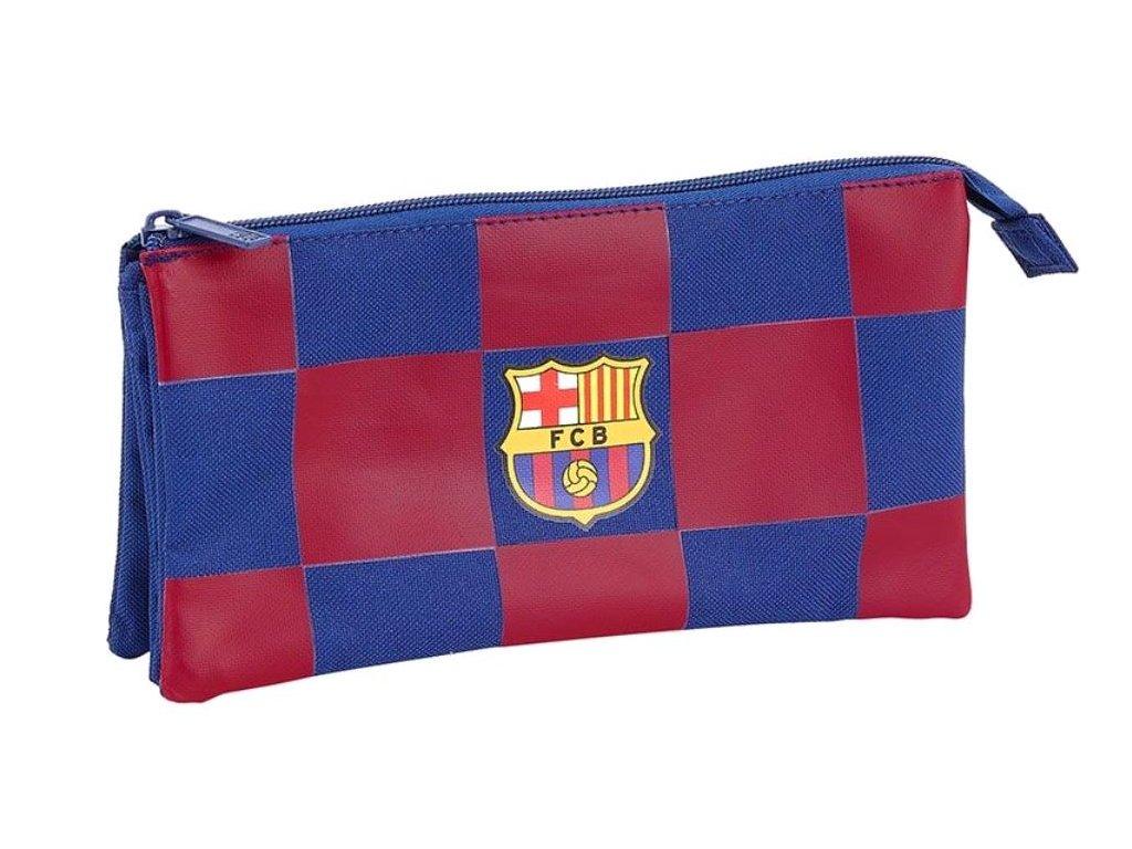 Trojitý penál na tužky FC Barcelona: vzor 11929 sezóna 2020 (22 x 12 x 3 cm) modrý polyester