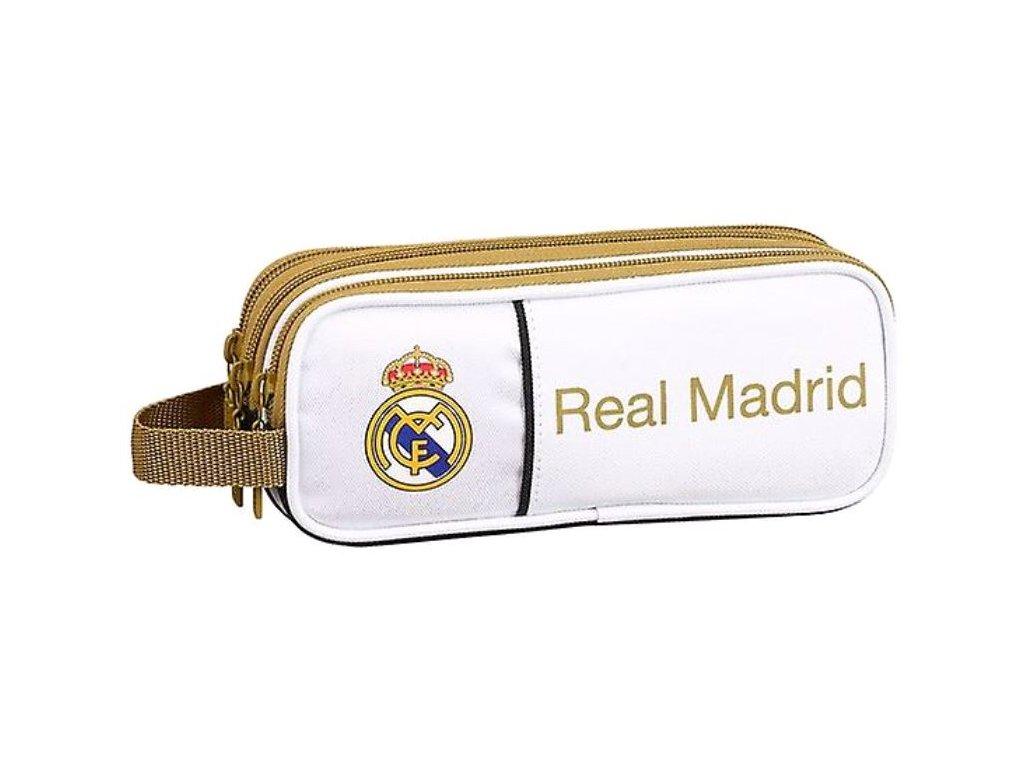 Trojkapsový penál na tužky FC Real Madrid: vzor 11954 (8,5 x 21 x 7 cm) polyester