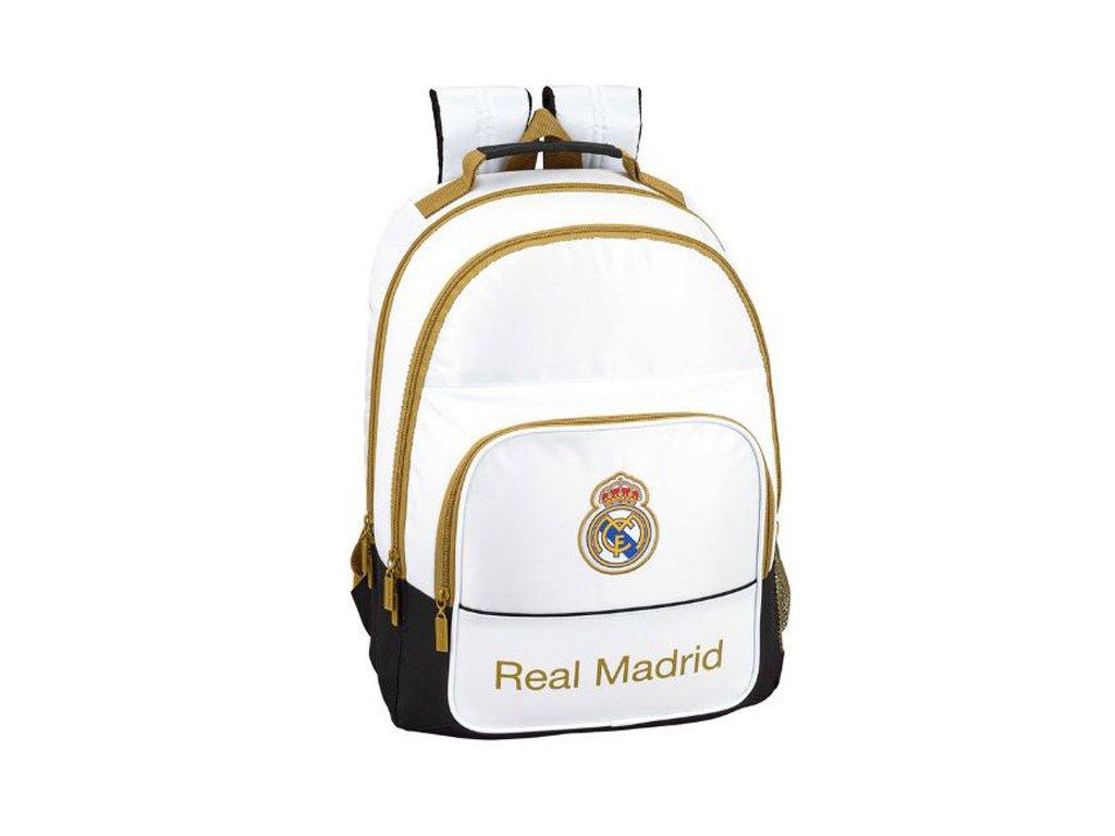 Školní double batoh FC Real Madrid: vzor 11594 (objem 21,5 litrů|32 x 42 x 16 cm) bílý polyester