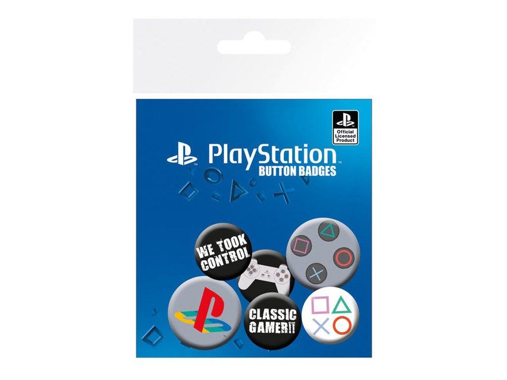 Placka Playstation: Set 6 placek (průměr 25 mm a 32 mm)