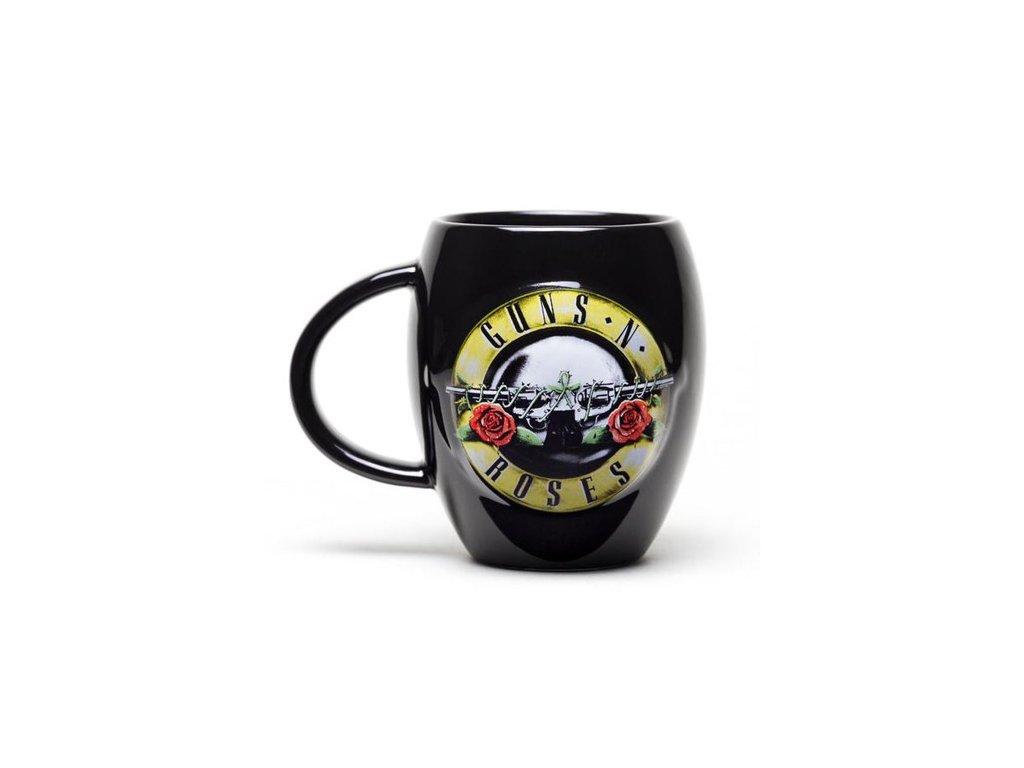 Černý oválný keramický hrnek Guns'N'Roses: Logo (objem 450 ml)