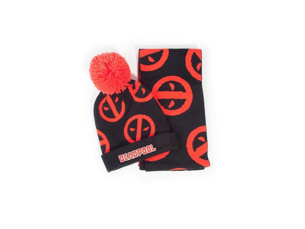 Zimní dárkový set úpletová zimní čepice a šála Marvel: Deadpool (universální)