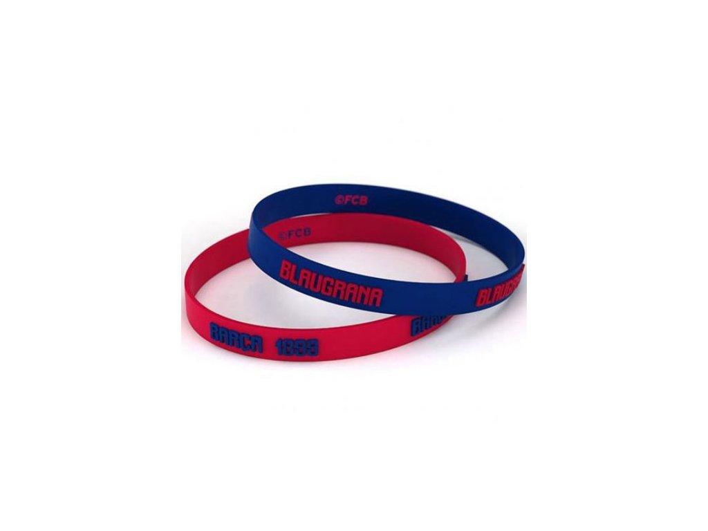 Silikonový náramek FC Barcelona: Set 2 kusy (průměr 6 cm)