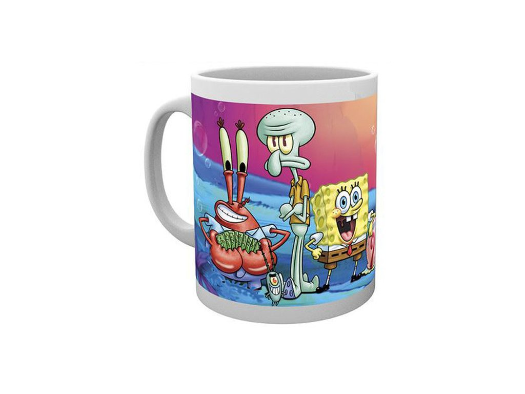 Bílý keramický hrnek SpongeBob: Group (objem 300 ml)