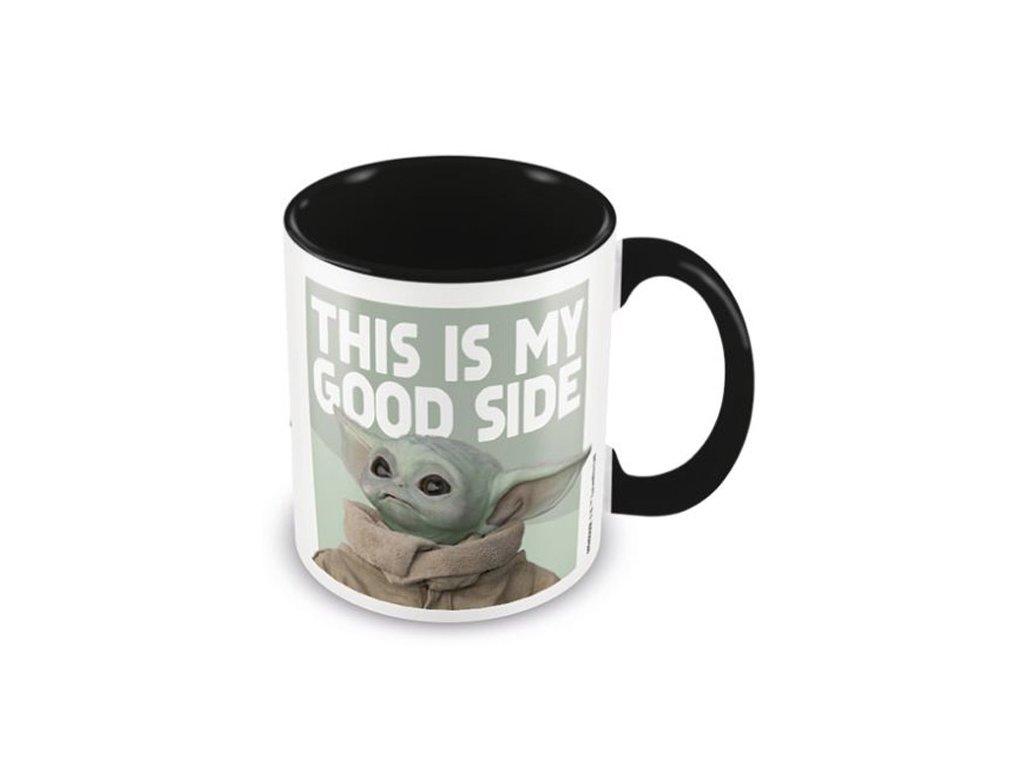 Černý keramický hrnek Star Wars Hvězdné Války TV seriál The Mandalorian: Good Side - mladý Yoda (objem 315 ml)
