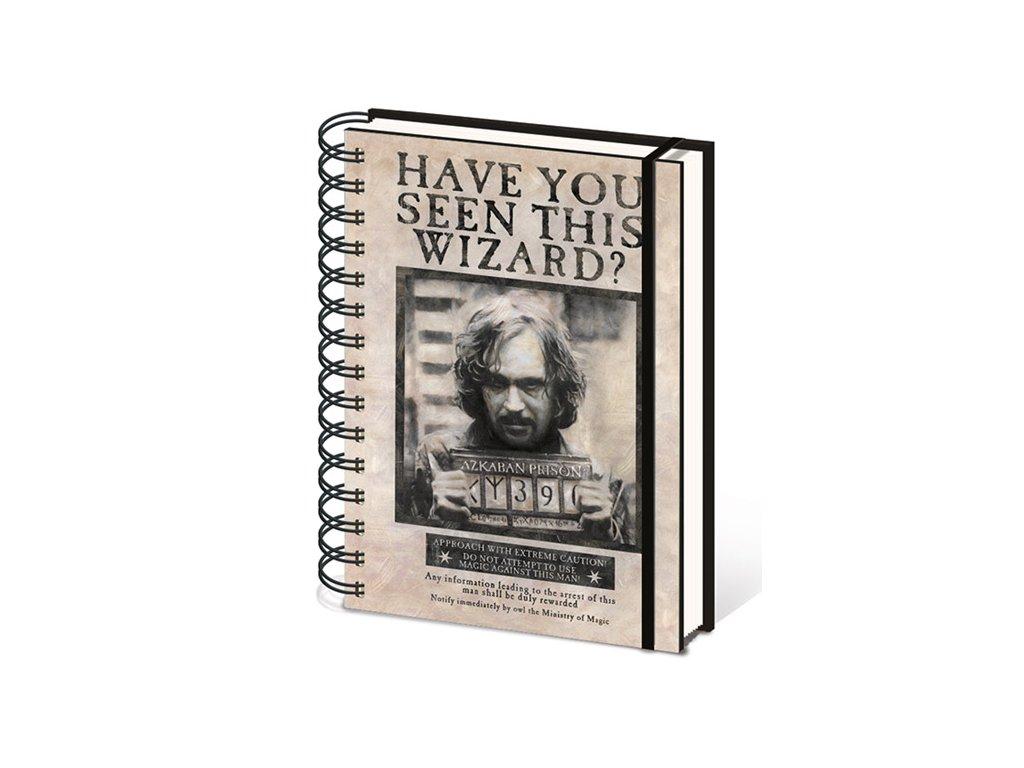 A5 blok-zápisník Harry Potter: Wanted Sirius Black kroužková vazba (14,8 x 21 cm)