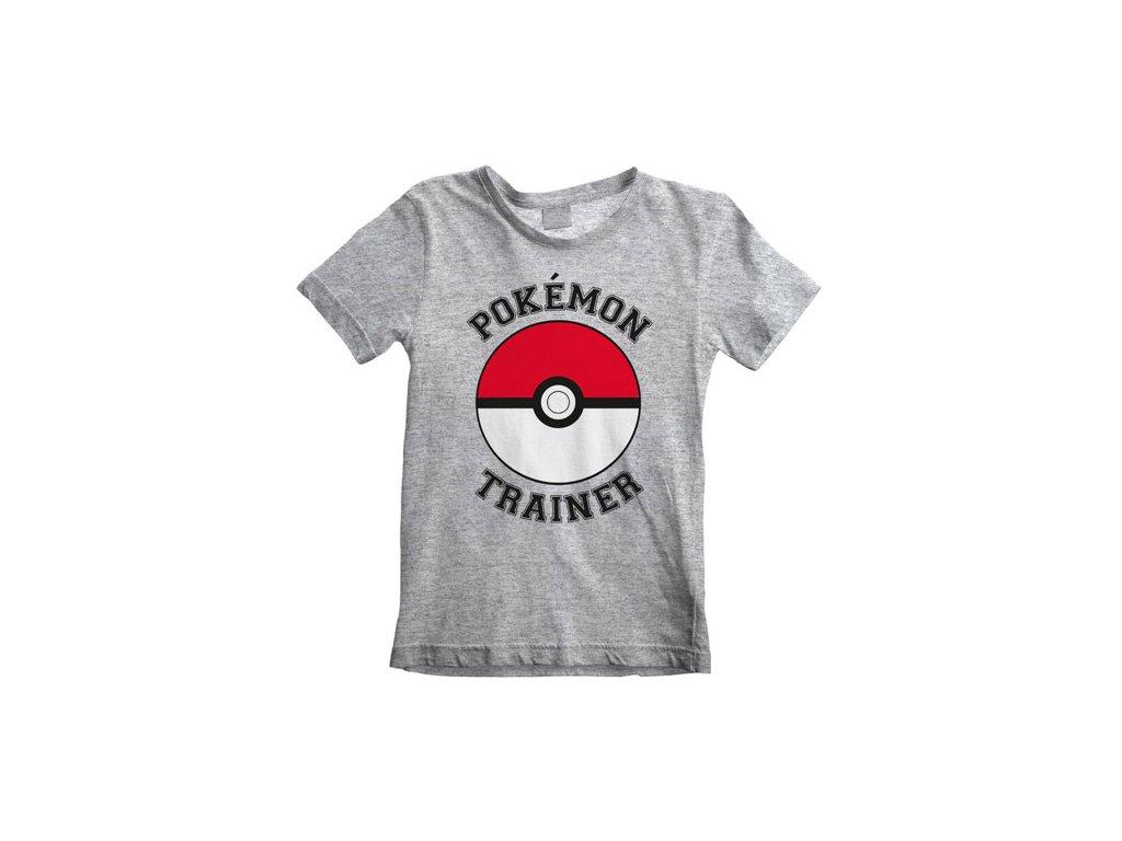 Dětské tričko Pokémon: Trainer (7-8 let) šedé bavlna