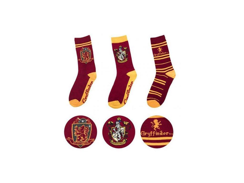 Ponožky HARRY POTTER: Gryffindor - Nebelvír set 3 párů (EU 35-45)