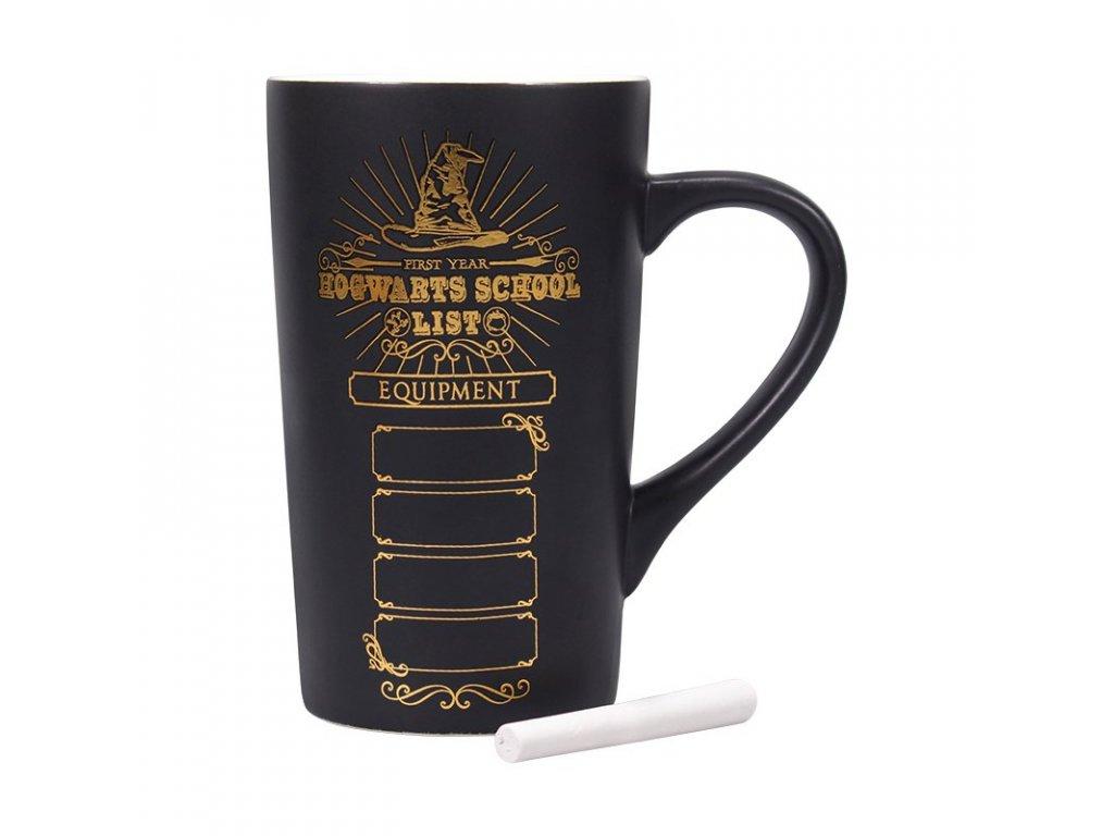 Keramický latte hrnek Harry Potter: School List (objem 500 ml) černý
