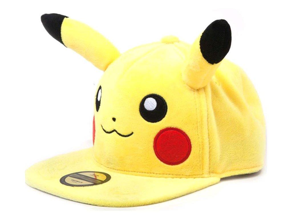 Čepice snapback - kšiltovka Pokémon: Pikachu s ušima (nastavetelná) žlutá bavlna