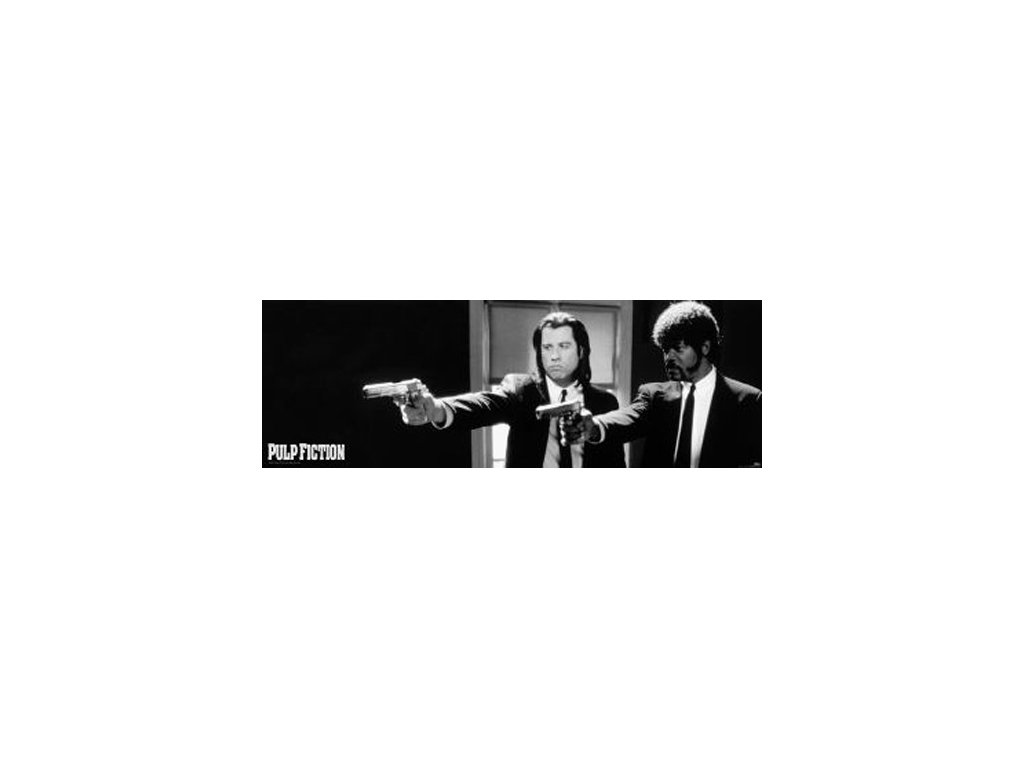 Plakát na dveře Pulp Fiction: B & W Guns (53 x 158 cm)