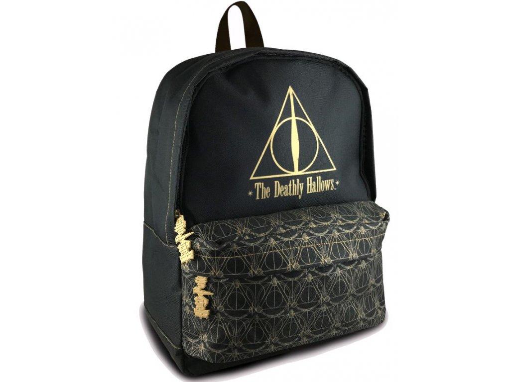 Batoh Harry Potter: Deathly Hallows - Relikvie smrti (objem 16 litrů 28 x 38 x 15 cm) černý polyester