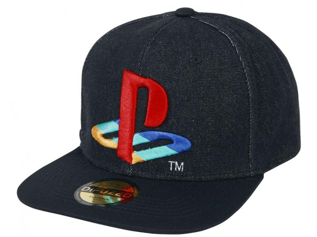 Čepice snapback - kšiltovka Playstation: Logo Denim (nastavitelná)