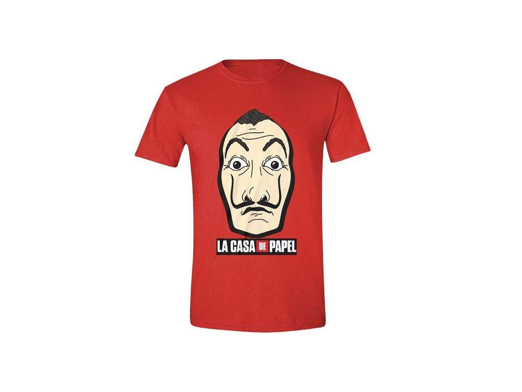 Pánské tričko La Casa De Papel|Papírový dům: Mask And Logo (M) červené bavlna