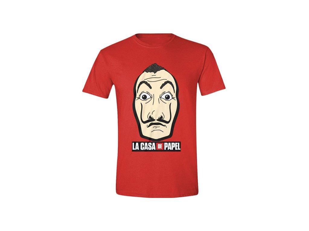 Pánské tričko La Casa De Papel|Papírový dům: Mask And Logo (L) červené bavlna