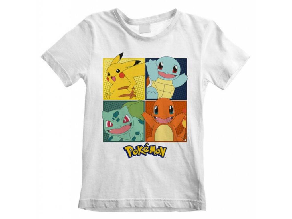 Dětské tričko Pokémon: Squares (9-11 let) bílé bavlna