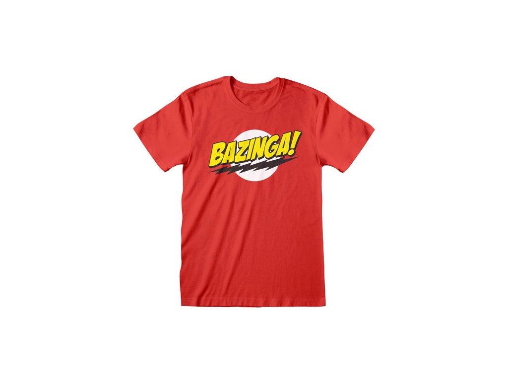 Pánské tričko Big Bang Theory|Teorie velkého třesku: Bazinga (M) červené bavlna