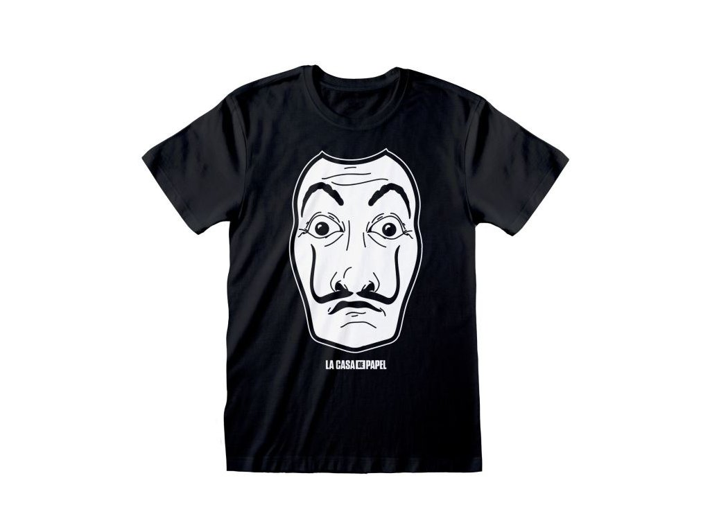 Pánské tričko Netflix|La Casa De Papel - Papírový dům: Maska (M) černé bavlna